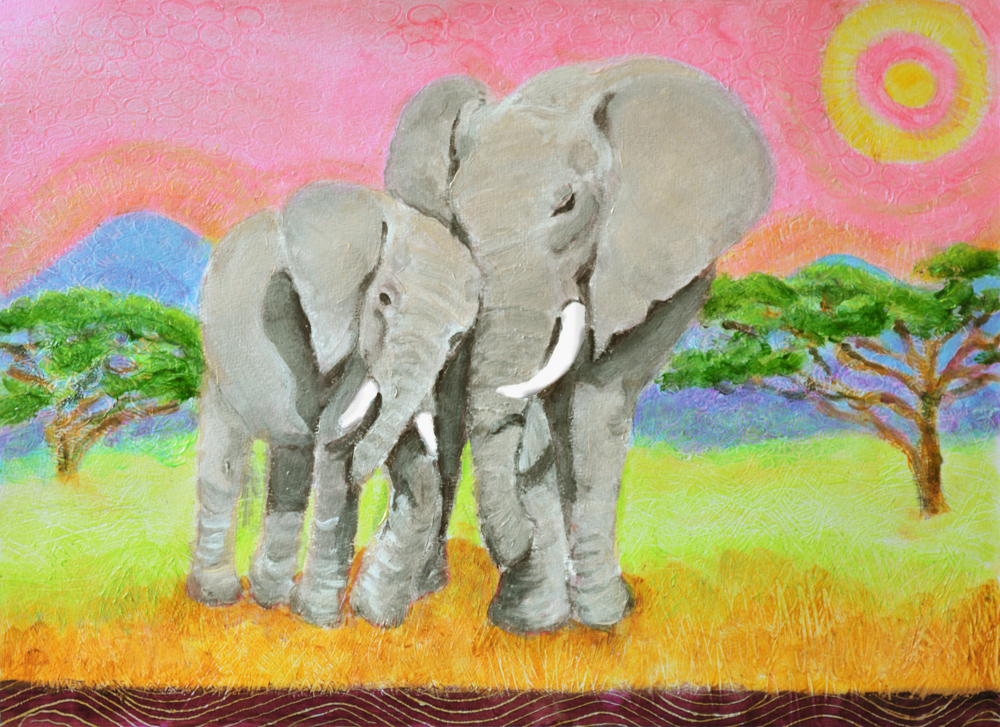 Mom and Baby Eephant - acrylic painting by Heni Sandoval