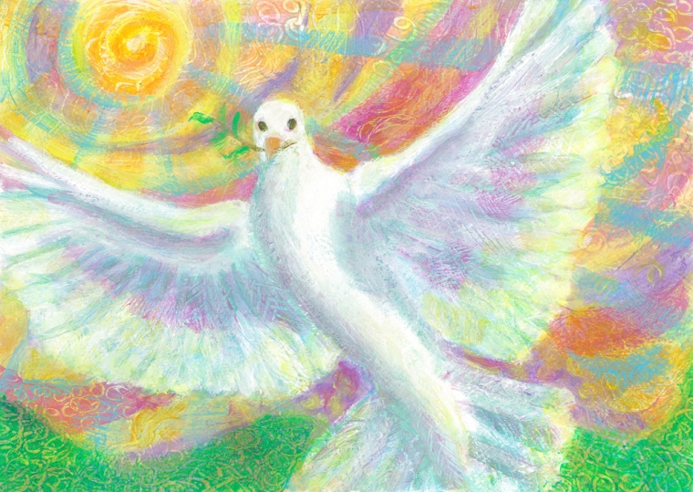 Peace Dove Rising - acrylic painting by Heni Sandoval
