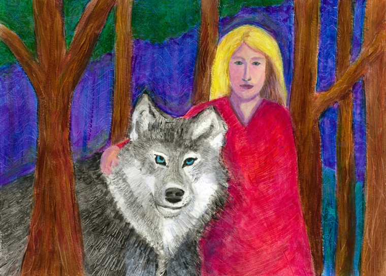 The Girl and the Wolf - acrylic painting by Heni Sandoval