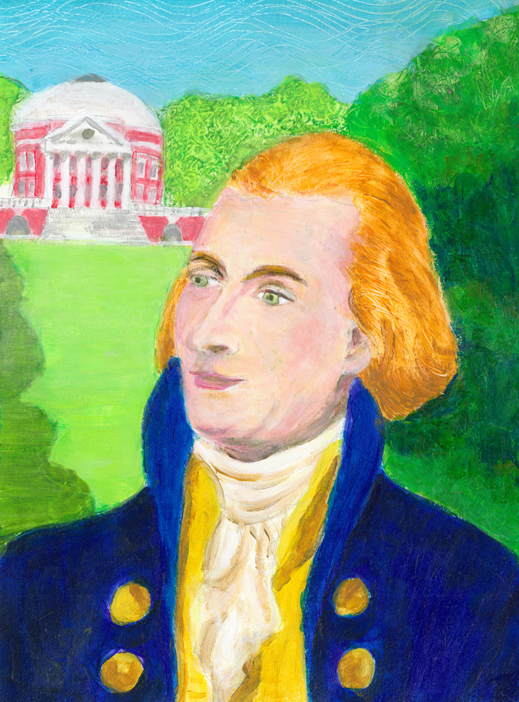 Portrait of Thomas Jefferson - acrylic painting by Heni Sandoval