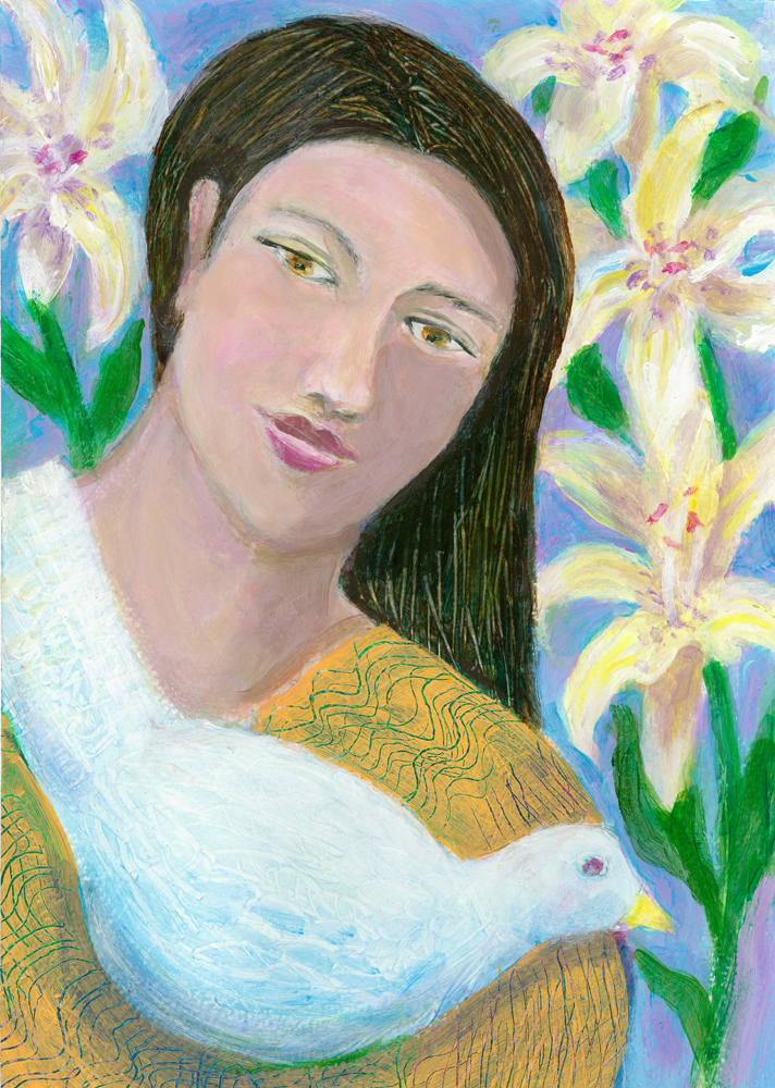 Woman with Dove and Lilies - acrylic painting by Heni Sanodval