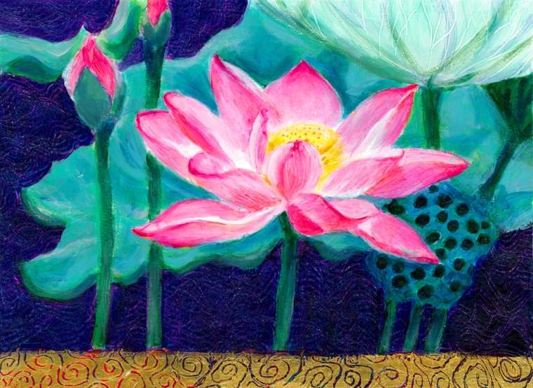 Pink Lotus Flower Henis Happy Paintings
