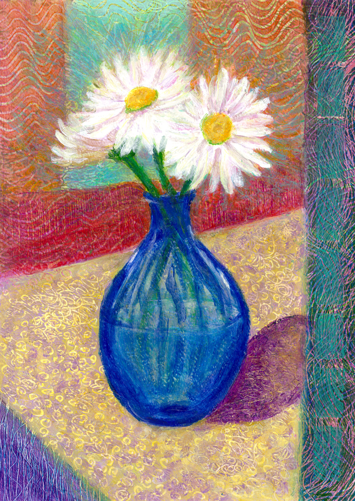 DAISIES IN BLUE VASE 1000