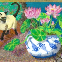 Siamese Cat in the Garden