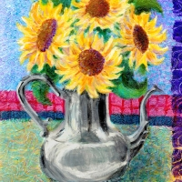 Sunflowers in Mom's Silver Pitcher